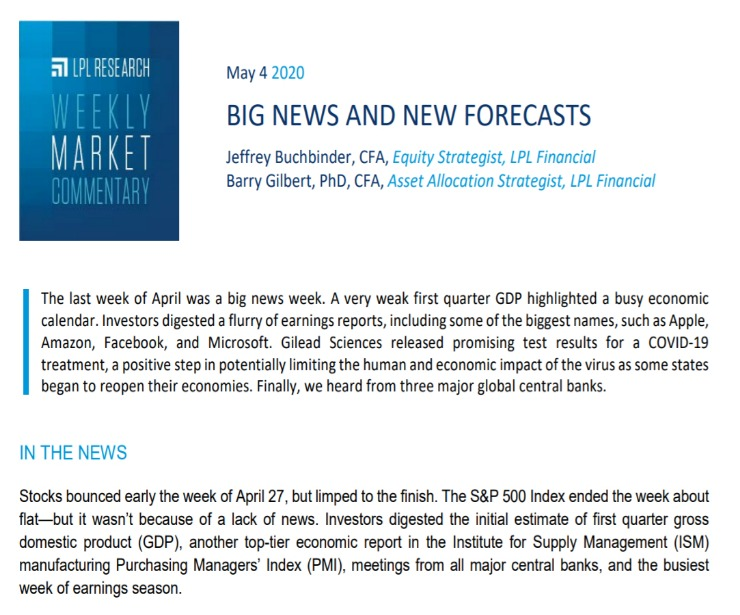 Big News And New Forecasts  Weekly Market Commentary   May 4, 2020