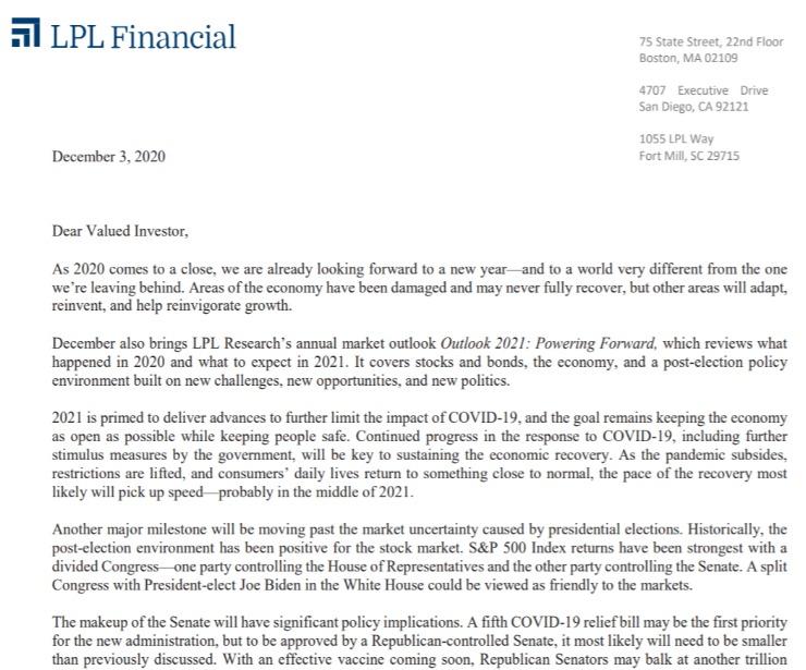 Client Letter   Outlook for 2021   December 3, 2020
