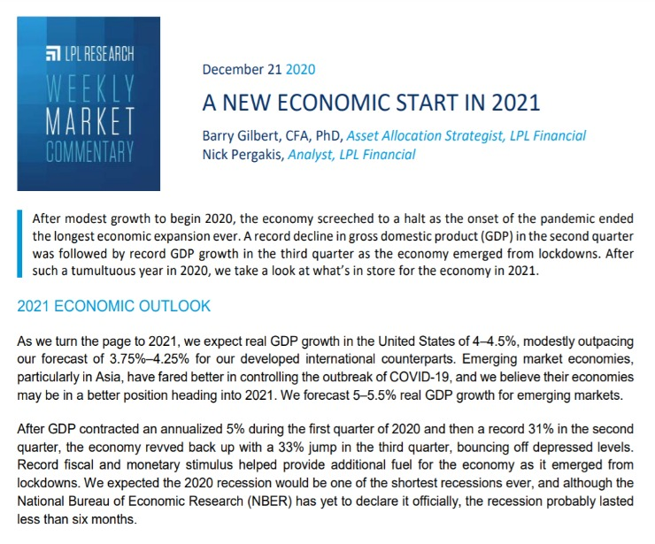 A New Economic Start in 2021   Weekly Market Commentary   December 21, 2020