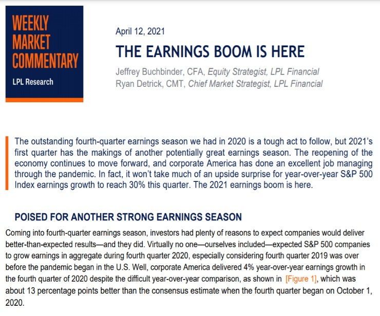 The Earnings Boom Is Here | Weekly Market Commentary | April 12, 2021